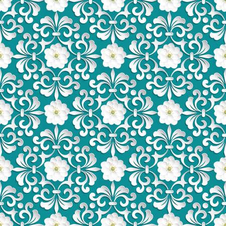 eleganz: Vector flower seamless pattern-Element. Volumetric Blumen.