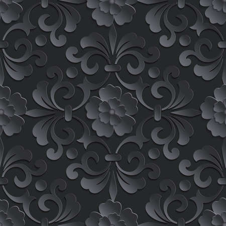 arte abstracto: Vector flower seamless pattern element. Volumetric flowers.