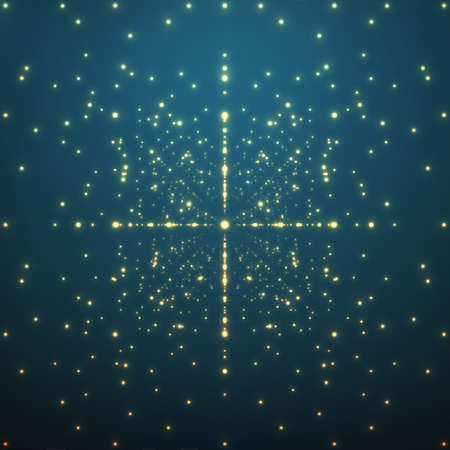 Abstract vector background. Matrix of glowing stars with illusion of depth and perspective. Illustration