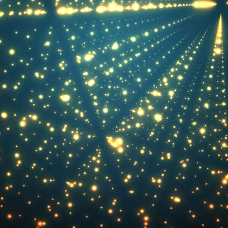 depth: Abstract vector background. Matrix of glowing stars with illusion of depth and perspective. Illustration