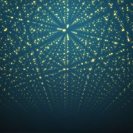 Abstract vector background. Matrix of glowing stars with illusion of depth and perspective. Ilustracja
