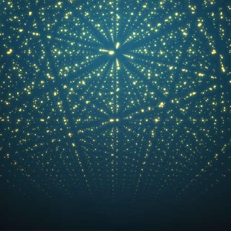 hintergrund: Abstract vector background. Matrix von leuchtenden Sternen mit Illusion von Tiefe und Perspektive.
