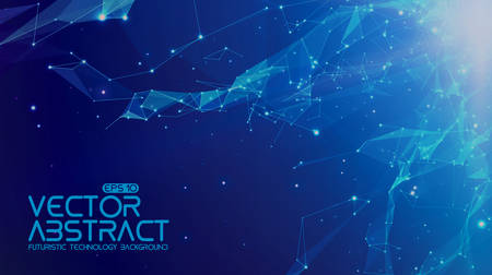 Abstract vector space light blue background. Chaotically connected points and polygons flying in space. Flying debris. Futuristic technology style. Elegant background for business presentations.