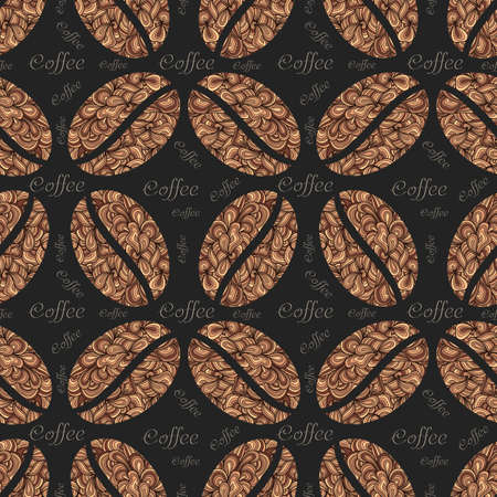 Vector elegant coffee pattern background. Coffee beans with floral ornament. Elegant seamless texture for background, wallpapers, textile, wrapping etc. Illustration