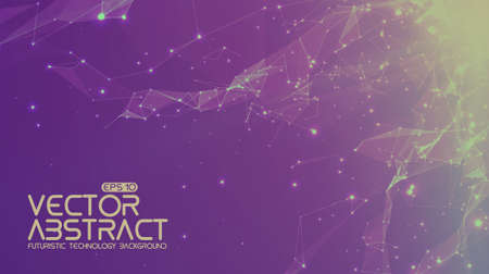Abstract vector space violet background. Chaotically connected points and polygons flying in space. Flying debris. Futuristic technology style. Elegant background for business presentations. Illustration