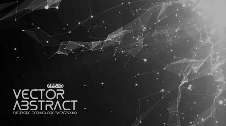 debris: Abstract vector space monochrome background. Chaotically connected points and polygons flying in space. Flying debris. Futuristic technology style. Elegant background for business presentations.