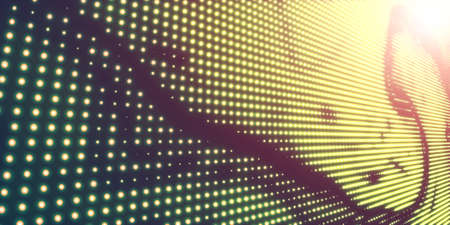 Abstract vector background with shining neon lights. Neon sign with abstract image in perspective. Glowing particles. Elegant modern background for business presentations.