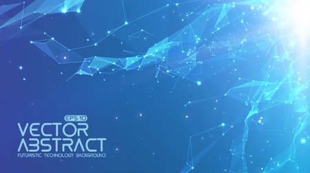 Abstract vector space blue background. Chaotically connected points and polygons flying in space. Flying debris. Futuristic technology style. Elegant background for business presentations.
