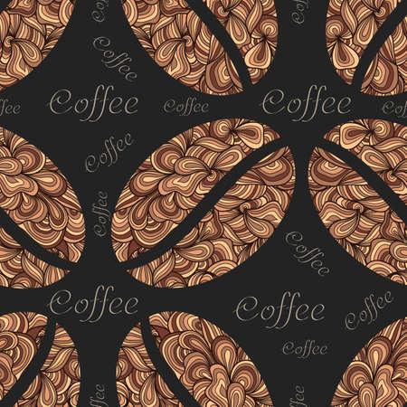 Vector elegante Kaffeemusterelement. Kaffeebohnen mit Blumenverzierung. Elegante nahtlose Textur für den Hintergrund, Tapeten, Textilien, Pack usw.