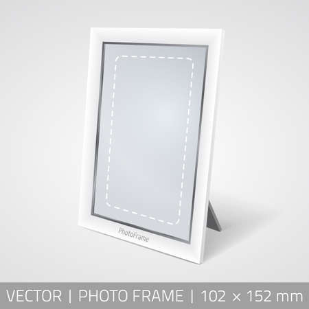 recollection: Vector isolated photo frame in perspective. Realistic photo frame standing on the surface with shadow.