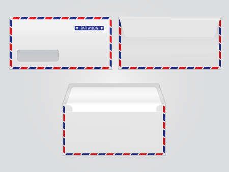 Vector mail envelope par avion. Blank paper envelopes for your design. Vector envelopes template. Illustration