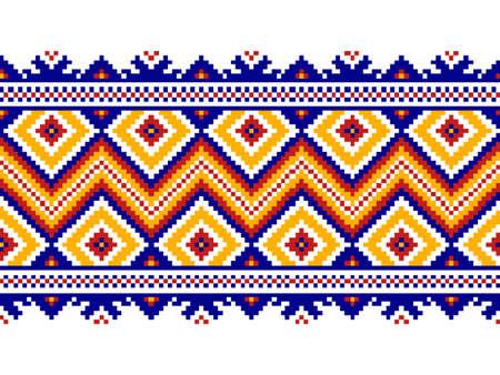 punto de cruz: Ilustración del vector del popular ucraniano patrón transparente de ornamento. ornamento étnico. elemento de frontera.