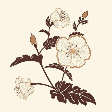Hand drawn decorative vector floral elements for design. Page decoration element. Illustration