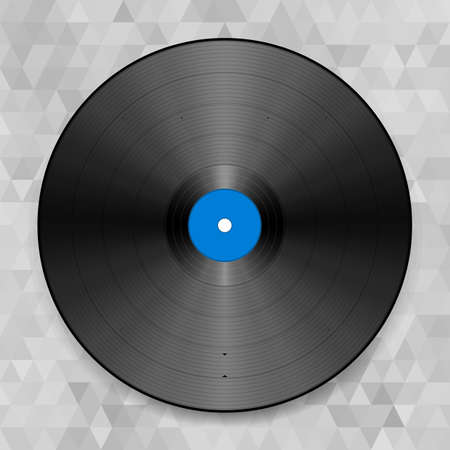 tracklist: Vector illustration of a vinyl record. On the abstract background
