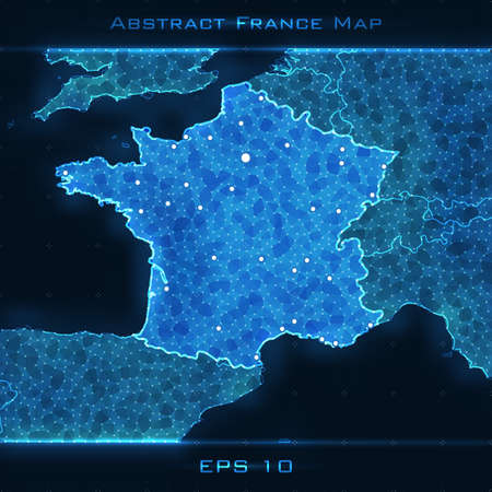 France abstract map. Highlighted France. Vector background. Futuristic style card. Elegant background for business presentations. Lines, point, planes in 3d space.