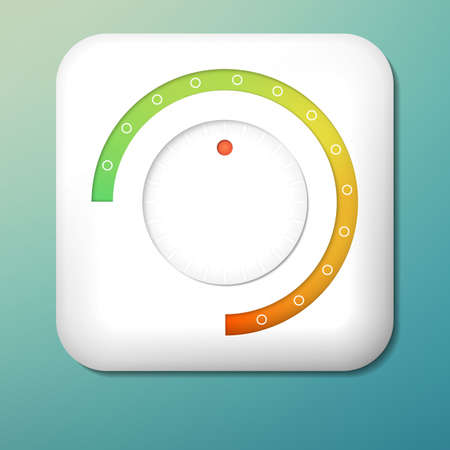 Vector plastic volume button. Green to orange scale. Control knob. Adjustment icon.