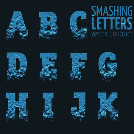 abstract letters: Abstract vector smashing mesh letters. Futuristic technology style alphabet. Eps 10 Illustration