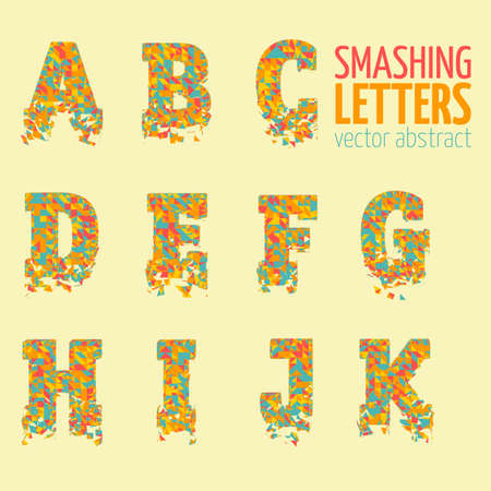 abstract letters: Abstract colorful vector smashing mesh letters. Futuristic technology style alphabet. Eps 10