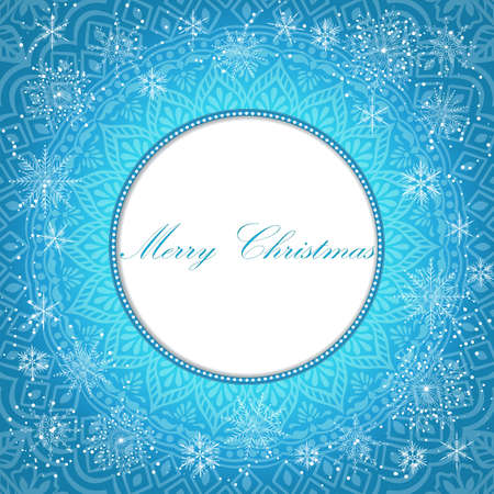 crystal background: Elegant Christmas background with snowflakes and place for text. Abstract winter background. Vector Illustration. Illustration