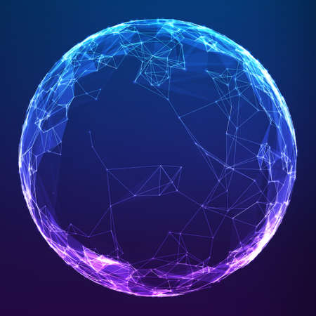 Abstract vector polygonal cyber sphere. Triangle spherical mesh background. Futuristic 3D illuminated distorted sphere of glowing particles and polygons. Digital splash. UI or HUD element.  イラスト・ベクター素材