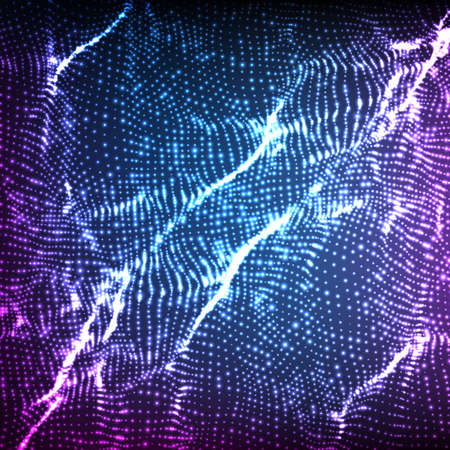 Abstract vector violet wave mesh background. Point cloud array. Chaotic light waves. Technological cyberspace background. Cyber waves. Illustration