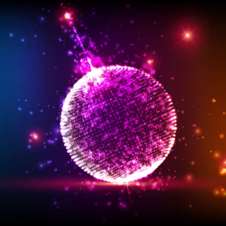 ball point: Shining Christmas ball on the colorful background with glowing particles flying around. Abstract vector new year background. Elegant background for invitaions or gift cards. EPS10 Illustration