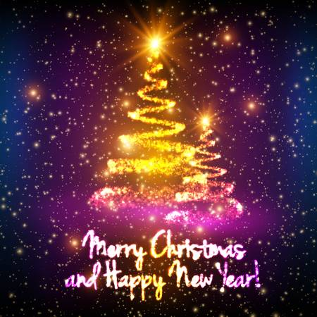 Shining christmas trees on colorful background with backlight and glowing particles. Glowing fir-tree. Elegant shining background for you design.