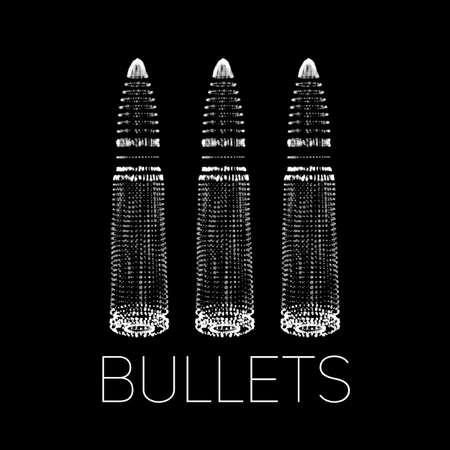 Abstract vector monochrome background with glowing bullet. Cloud of shining points in the shape of a bullet. Futuristic style card. Eps10