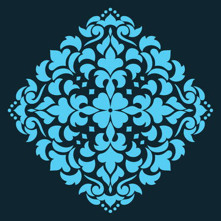 delicate arabic motif: Vector ornamental round lace with damask and arabesque elements. Mehndi style. Orient traditional ornament. Zentangle-like round colored floral ornament.