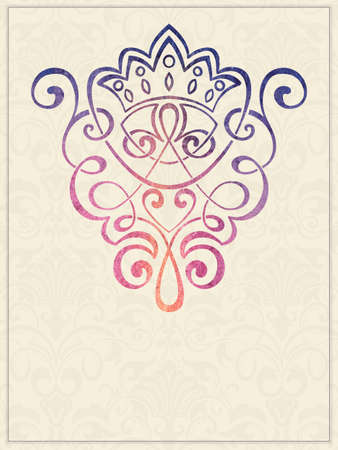 royal wedding: Vector invitation card with watercolor damask element on the light damask background. Arabesque style design. Elegant invitation or gift card.