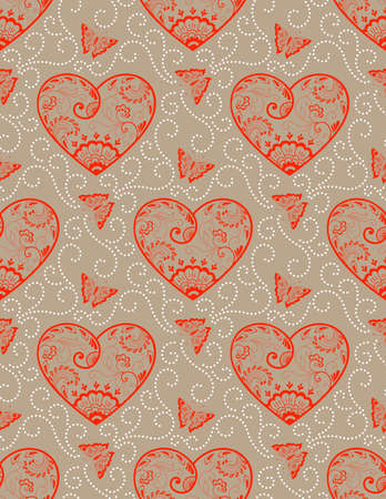 old backgrounds: Vector flower seamless pattern background with hearts. Elegant texture for backgrounds. Classical luxury old fashioned floral ornament, seamless texture for wallpapers, textile, wrapping.