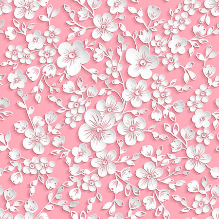 Vector red sakura flower seamless pattern element. Elegant texture for backgrounds. 3D elements with shadows and highlights. Paper cut. Cherry blossom Illustration