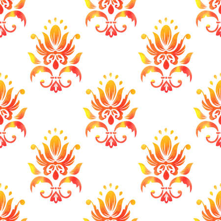 Vector damask seamless pattern background. Elegant luxury texture for wallpapers, backgrounds and page fill. Made with watercolors. Illustration