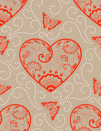 old backgrounds: Vector flower seamless pattern element with hearts. Elegant texture for backgrounds. Classical luxury old fashioned floral ornament, seamless texture for wallpapers, textile, wrapping.
