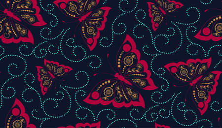 old backgrounds: Vector flower seamless pattern element with butterflies. Elegant texture for backgrounds. Classical luxury old fashioned floral ornament, seamless texture for wallpapers, textile, wrapping. Illustration
