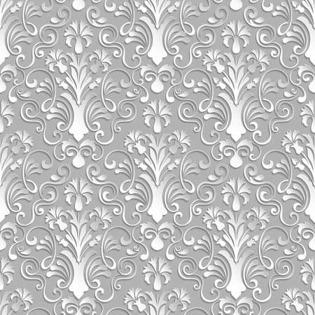 Vector damask seamless pattern background. Elegant luxury texture for wallpapers, backgrounds and page fill. 3D elements with shadows and highlights. Paper cut.
