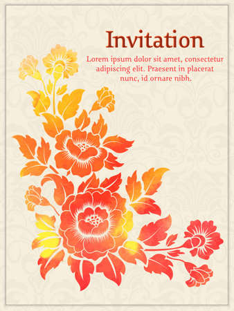 royal wedding: Vector invitation card with watercolor floral element on the light damask background. Arabesque style design. Elegant invitation or gift card. Illustration