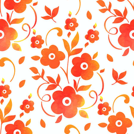 old backgrounds: Vector watercolor flower seamless pattern element. Elegant texture for backgrounds. Classical luxury old fashioned floral ornament, seamless texture for wallpapers, textile, wrapping. Illustration