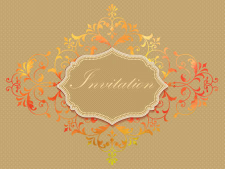 royal wedding: Vector invitation card with watercolor damask element on the light background. Arabesque style design. Elegant invitation or gift card.