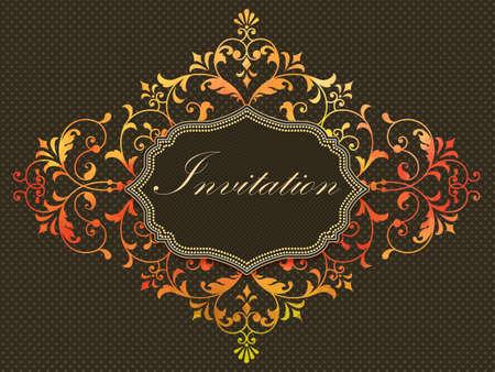 royal wedding: Vector invitation card with watercolor damask element on the dark background. Arabesque style design. Elegant invitation or gift card. Illustration