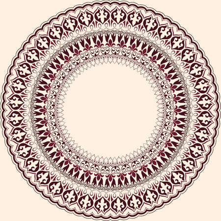 delicate arabic motif: A Vector ornamental round lace with damask and arabesque elements. Mehndi style. Orient traditional ornament. Zentangle-like round colored floral ornament.