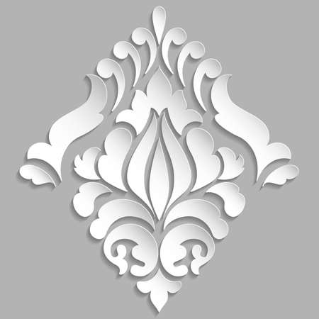 rococo: Vector damask volumetric ornamental element. Elegant floral abstract element for design. Perfect for invitations, cards etc.