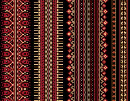 punto de cruz: Ilustración vectorial de ucraniano folk patrón transparente ornamento. Ornamento étnico. Elemento de borde. Tradicional ucraniano, arte popular bielorruso patrón de punto de bordado - Vyshyvanka