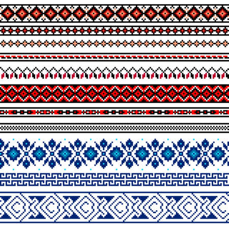 lappet: Vector illustration of Ukrainian folk seamless pattern ornament. Ethnic ornament. Border element. Traditional Ukrainian, Belarusian folk art knitted embroidery pattern - Vyshyvanka