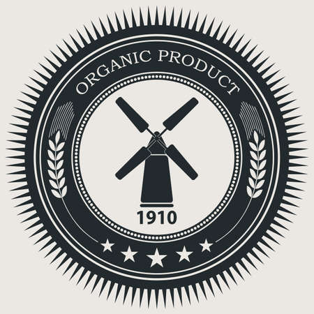 Vector retro styled badge with windmill symbol. Organic natural food sign.