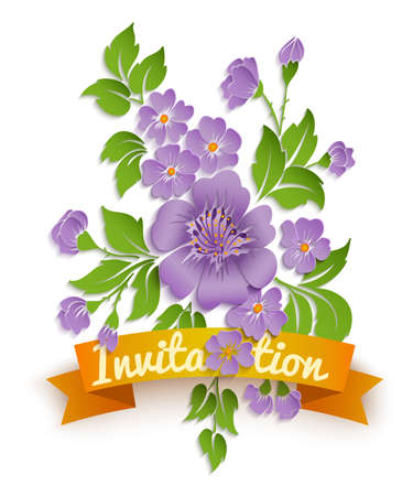 Vector spring background with volumetric flowers. Paper cut flowers on white background. With orange ribbon.