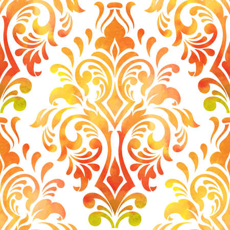 Vector damask seamless pattern element. Elegant luxury texture for wallpapers, backgrounds and page fill. Made with watercolors.