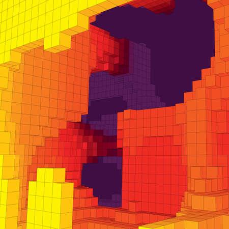 Abstract ondergronds landschap met gekleurde kubussen. Abstracte topografieën van digitale ruimte. Geometrische grot. Vector achtergrond.