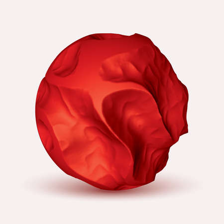 Vector red eroded 3d sphere. Abstract volumetric eroded sphere. Illustration
