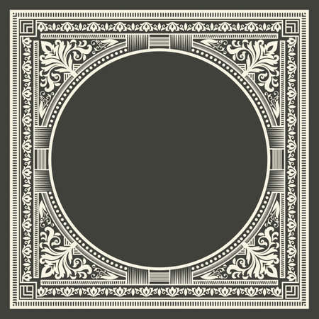 initial: Vector floral and geometric monogram frame on dark gray background. Monogram design element. Vintage styled initial decoration.